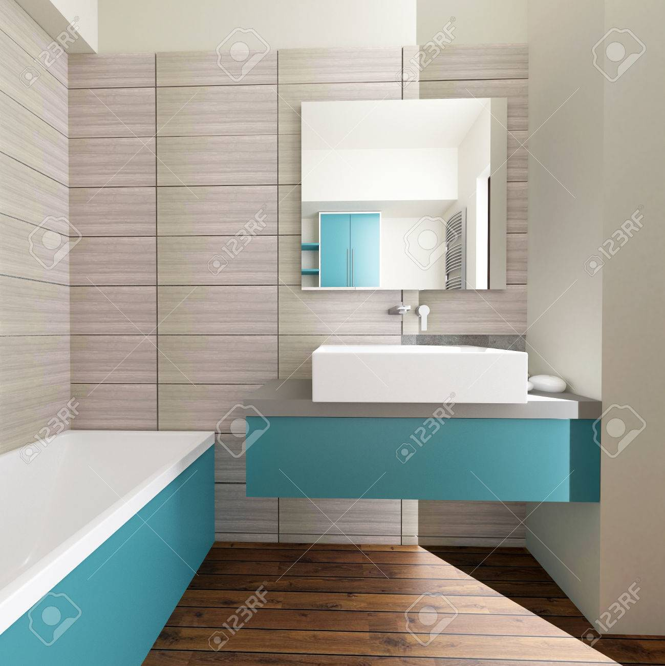 modern bathroom interior with grey wall tiles - 64599267