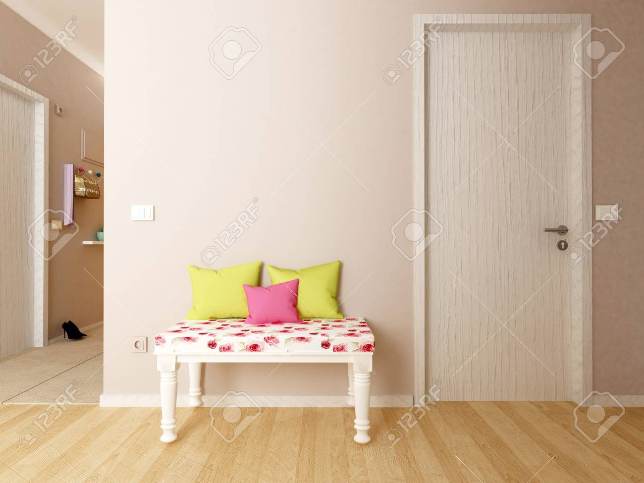 interior of hallway with a drawer cabinet - 67154119