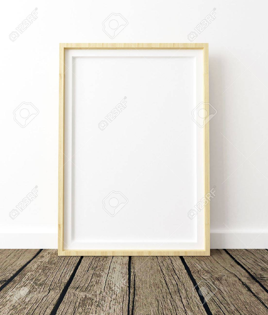 Mock Up Poster Frame, White Background And Wood Floor Interior ...