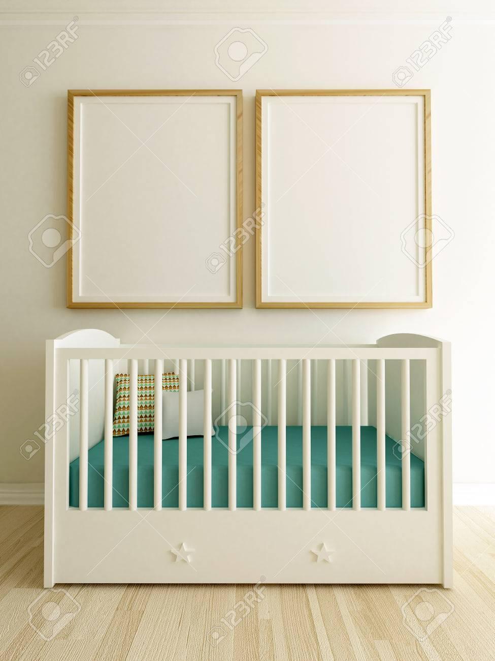 Poster Mockup In Baby Room Interior - 78129197