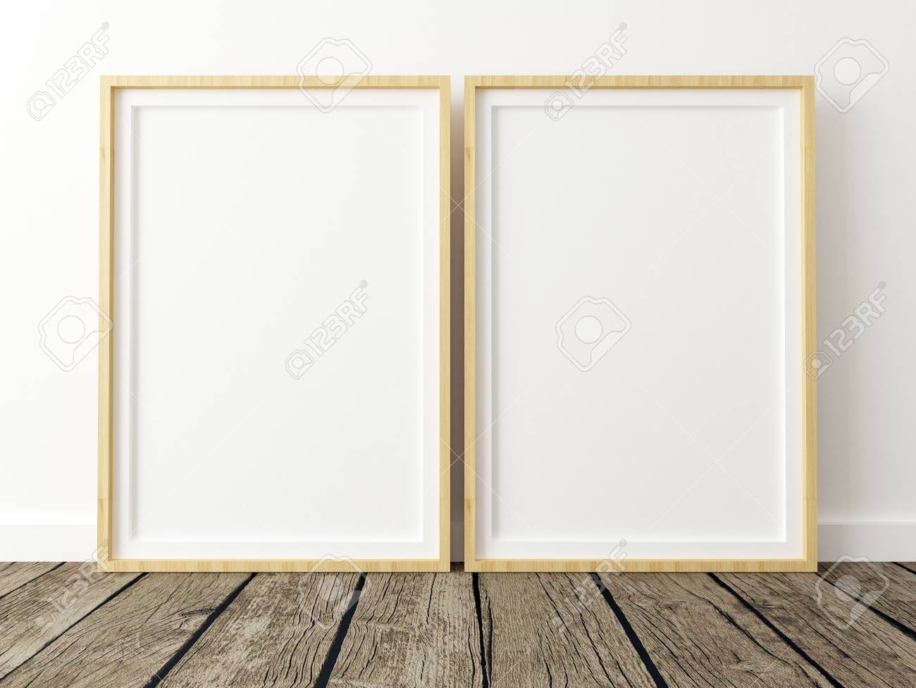 Set Of 2 Poster Frame Mockups On White Wall Stock Photo, Picture And ...