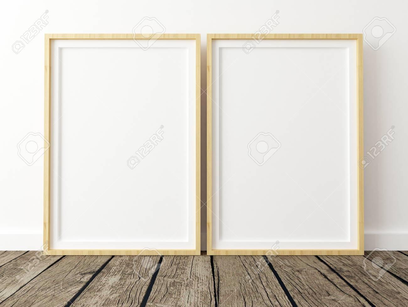 Set of 2 Poster Frame Mockups on White Wall - 77368957