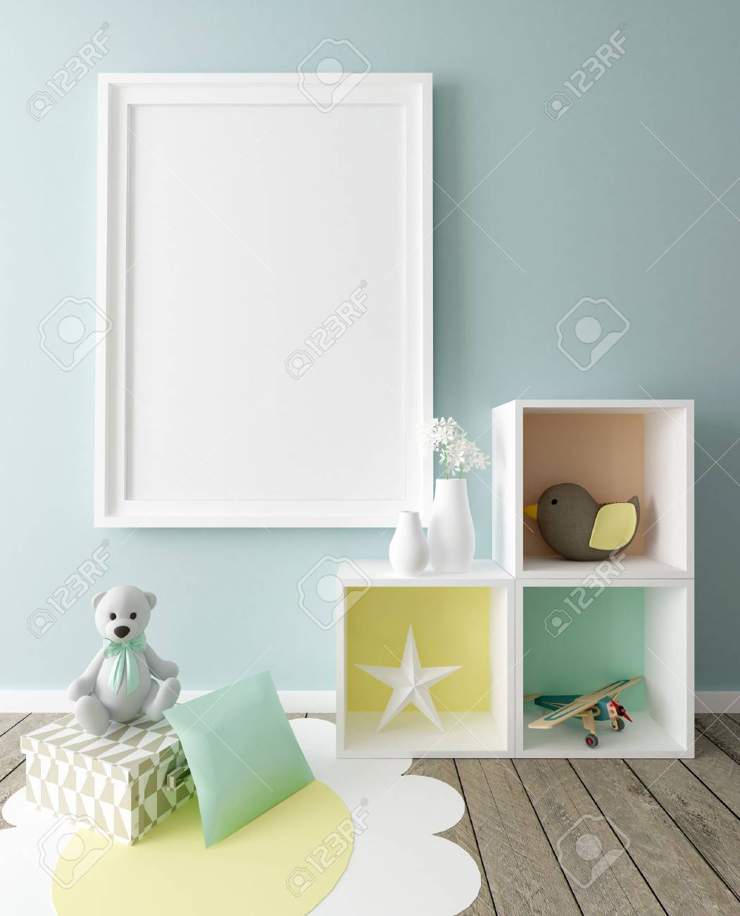 Poster Frame Mockup in Children Room Interior - 77592520