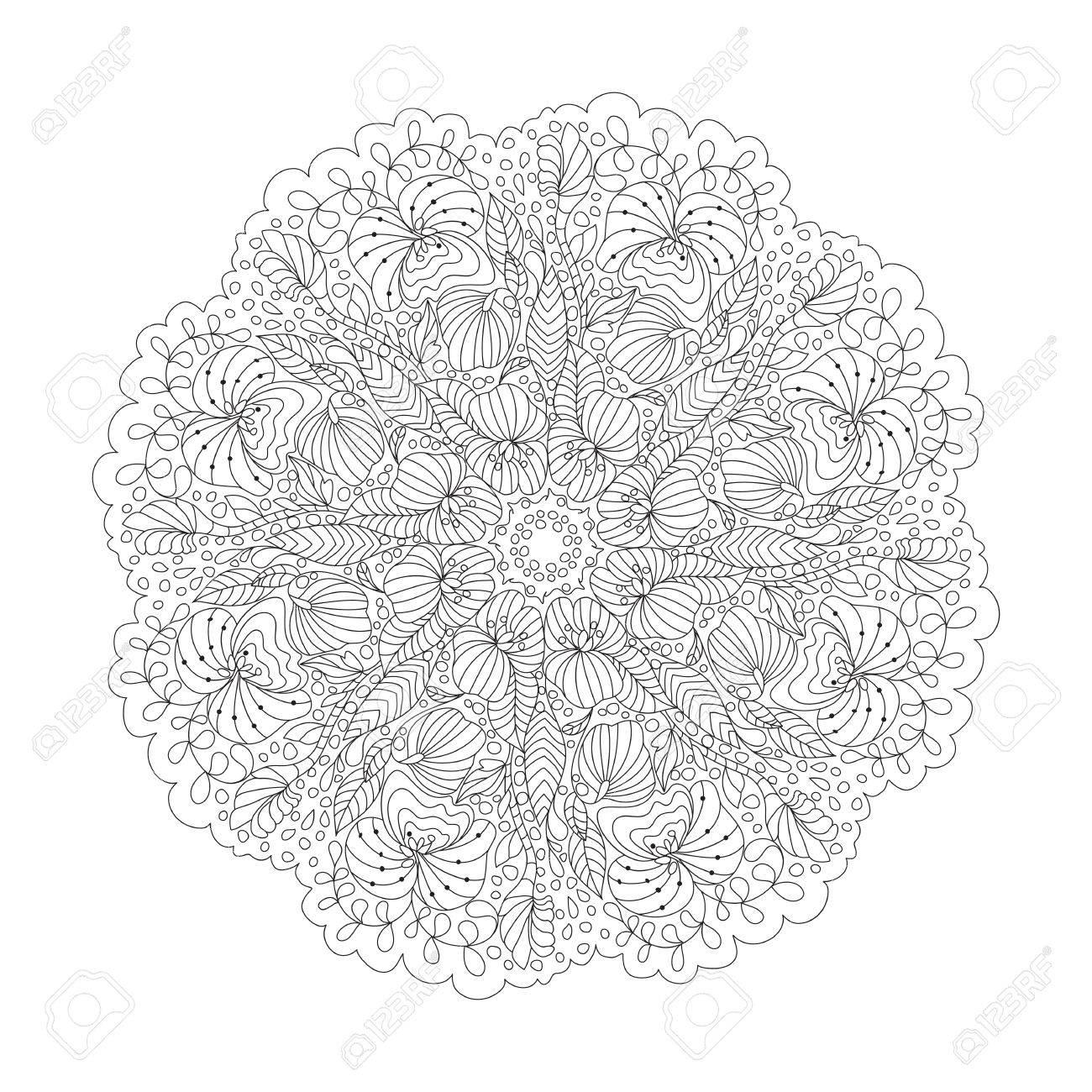 Esquema De Mandala Para Colorear. Ronda Adorno Decorativo. Anti ...