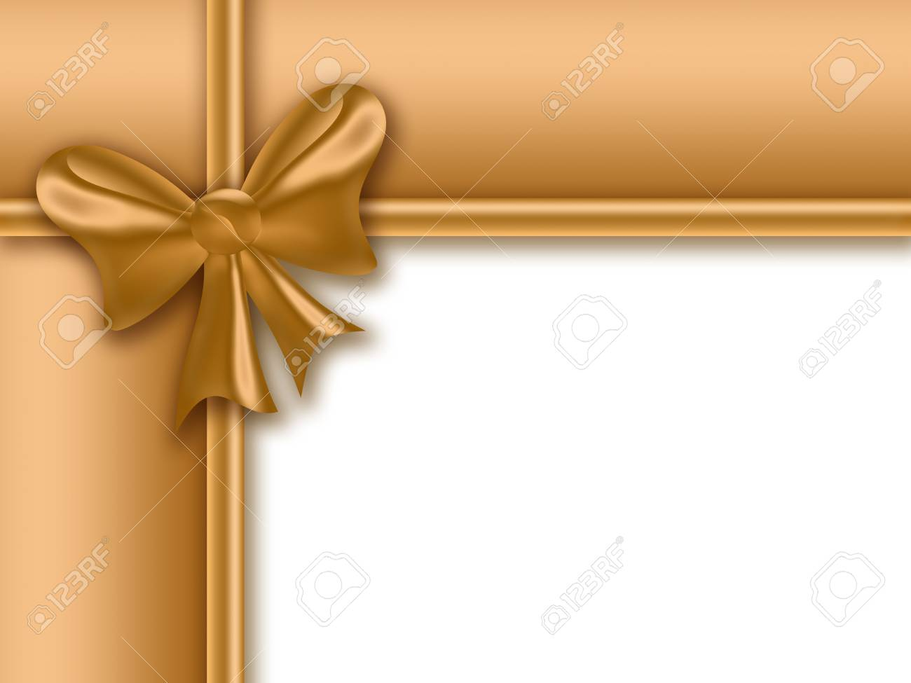 golden gift frame with a bow on a white background Stock Photo - 6419781
