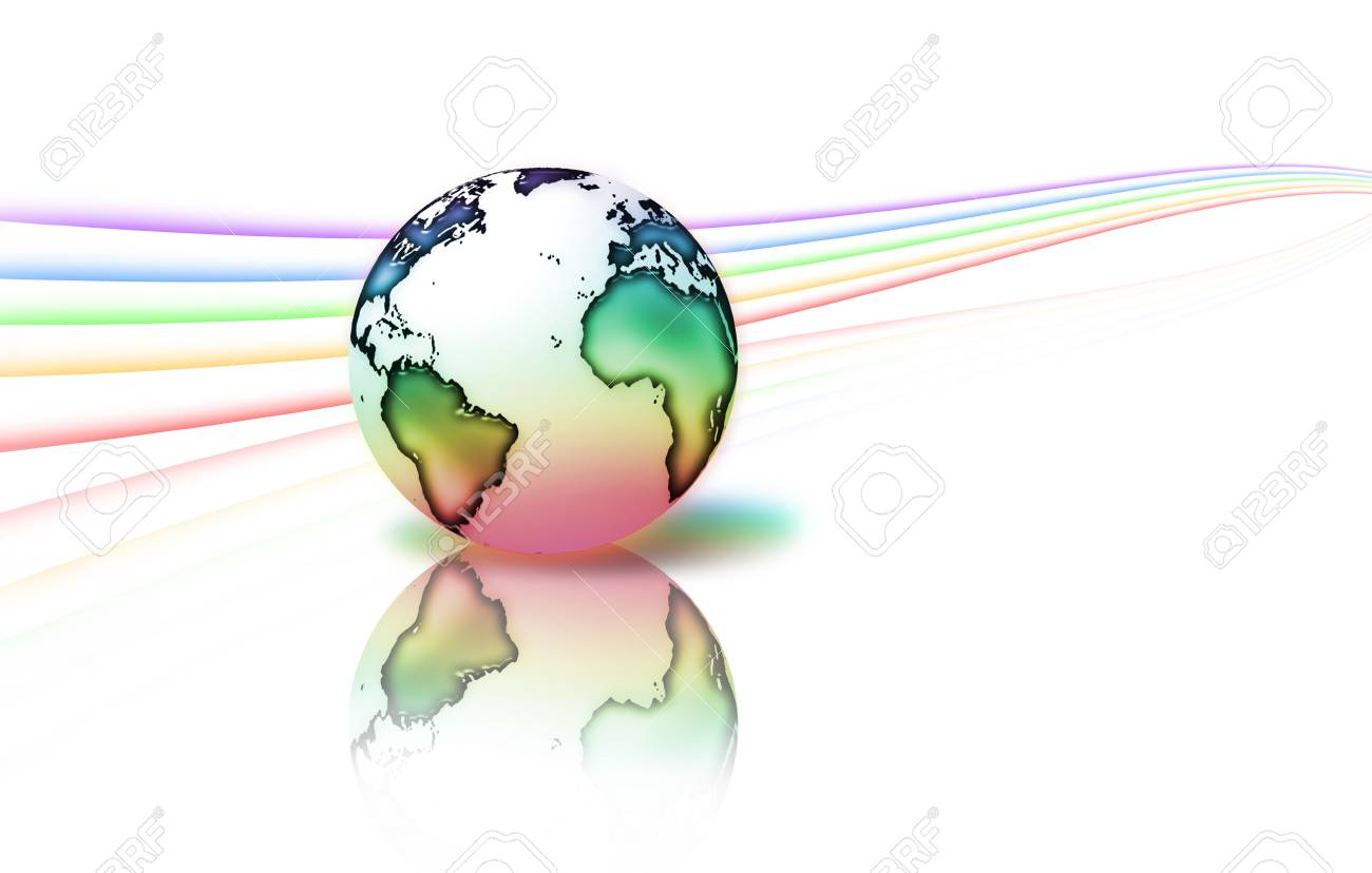 planet is surrounded by rainbow stripes - isolated on a white background Stock Photo - 6527050
