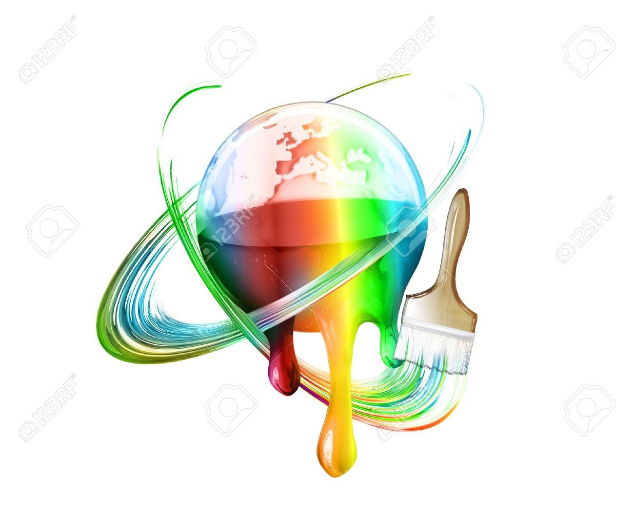 brush draws a rainbow around the multi colored world Stock Photo - 9709359