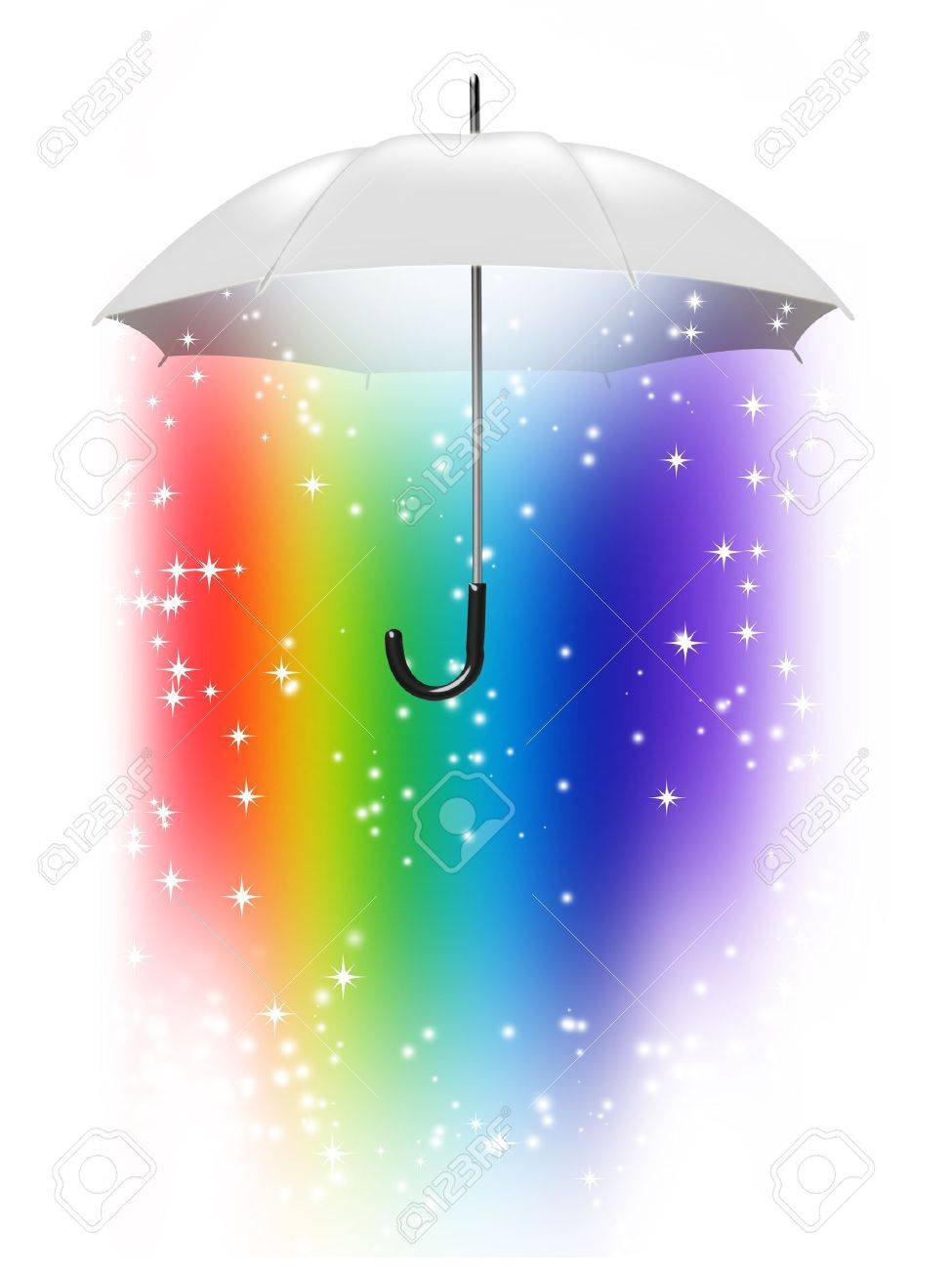 white umbrella with a rainbow inside isolated on white background Stock Photo - 9947045