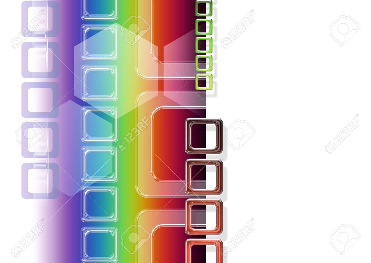 abstract background with rainbow and transparent squares Stock Photo - 9947073