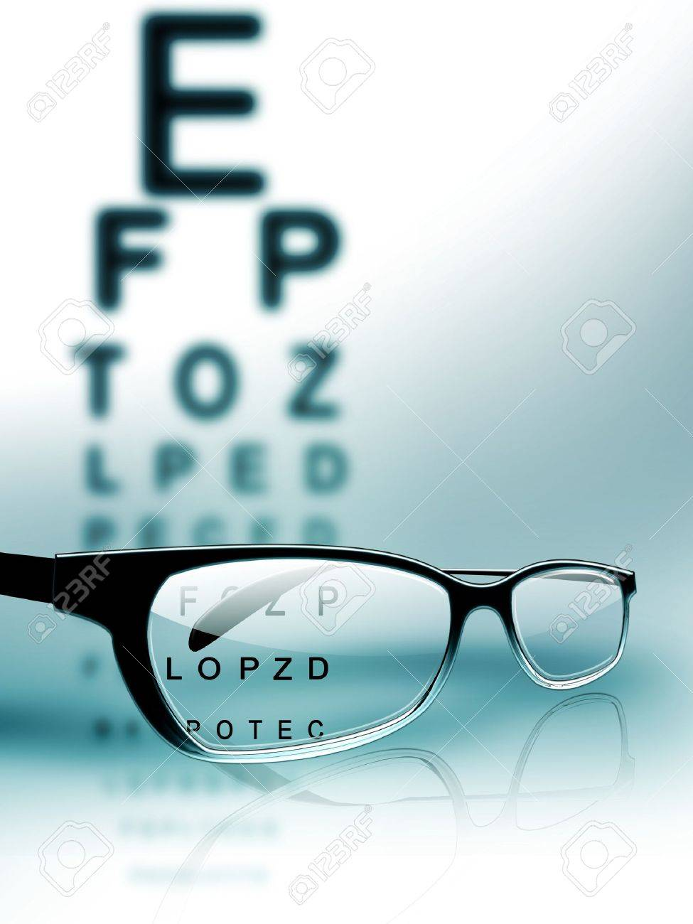 glasses on the background of eye test chart Stock Photo - 9947101