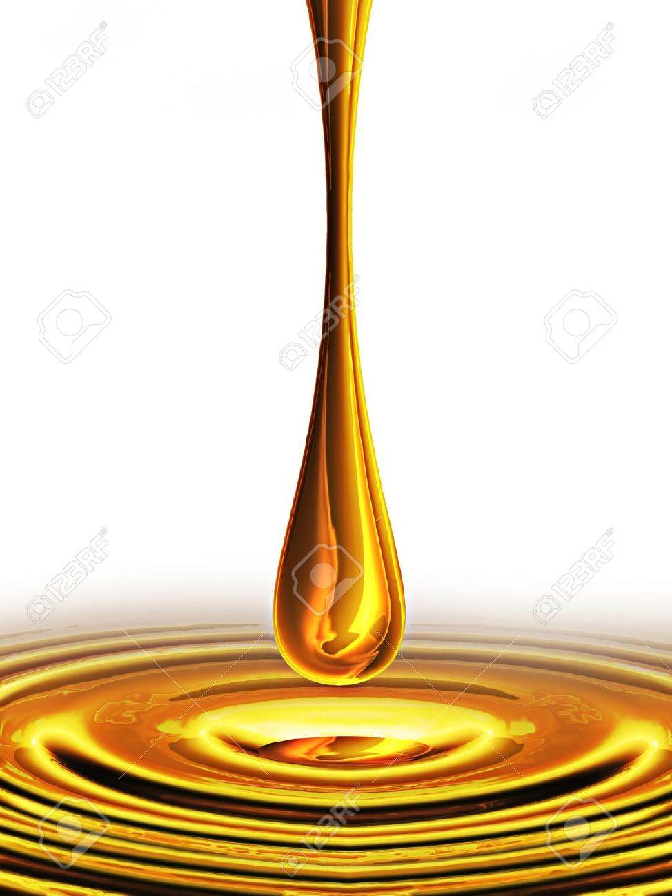 falling drop of oil on a white background Stock Photo - 10615319