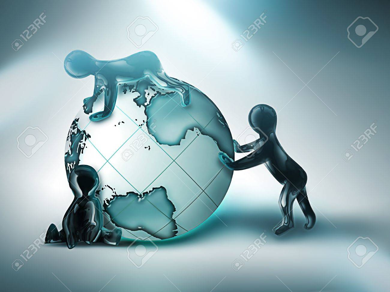 three cartoon person rolling the world on light background Stock Photo - 10691624