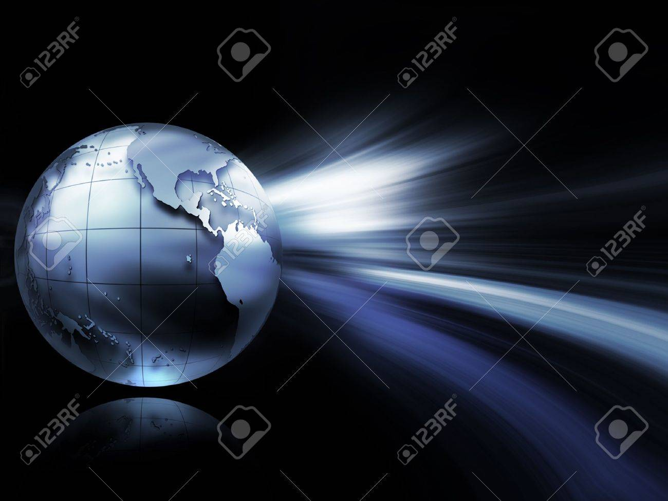 modern technology background with metallic world and lights Stock Photo - 10843774