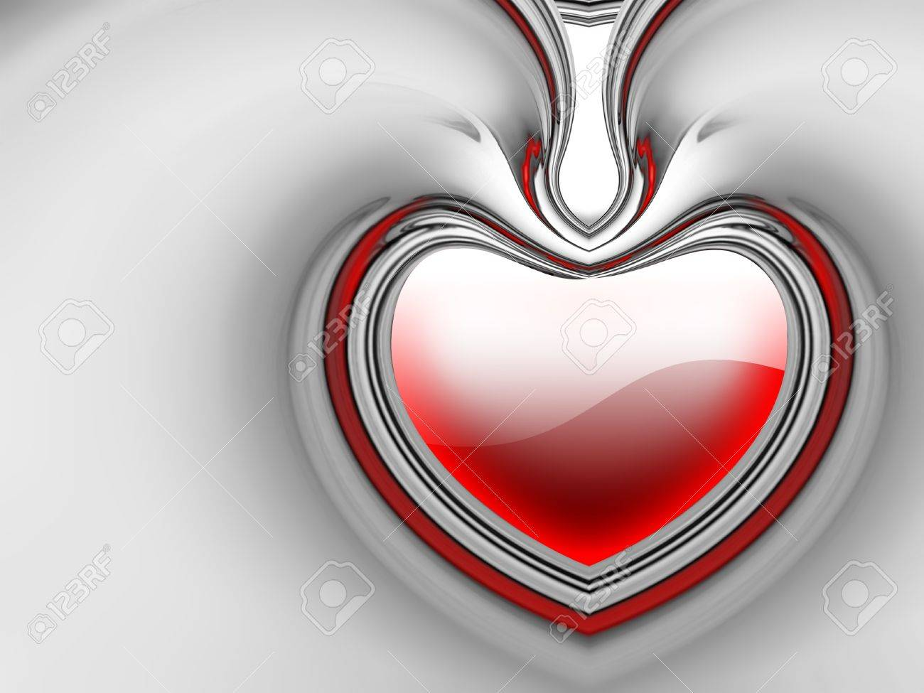 chrome red heart on a gray background Stock Photo - 10919997