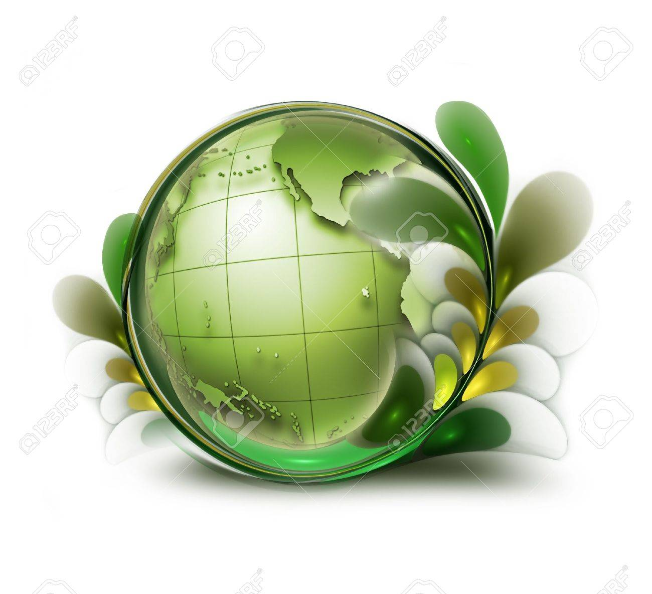 green earth with leaves on white background Stock Photo - 11142412