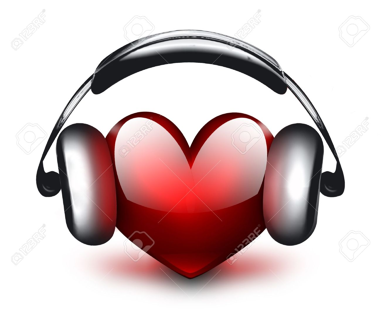 heart with headphones - the concept of a music lover Stock Photo - 14480621