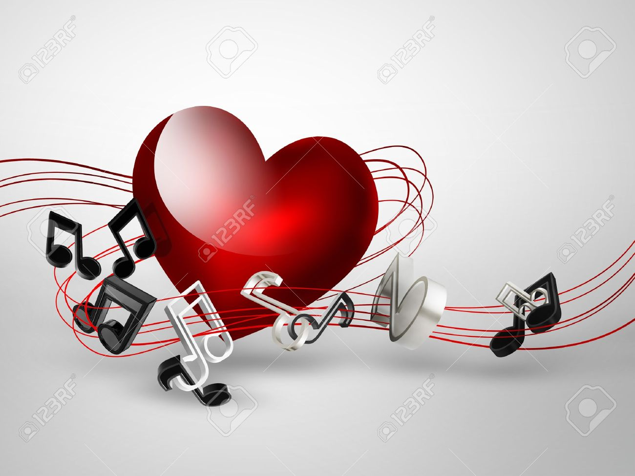 music background with heart and notes Stock Photo - 19724824