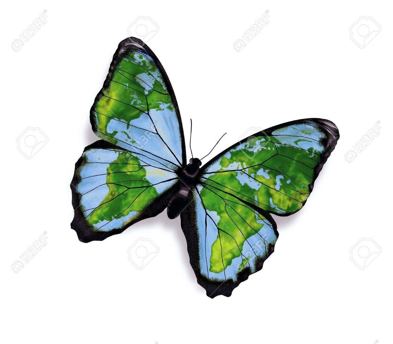 World Map On The Wings Of Butterflies Freedom Concept Stock Photo