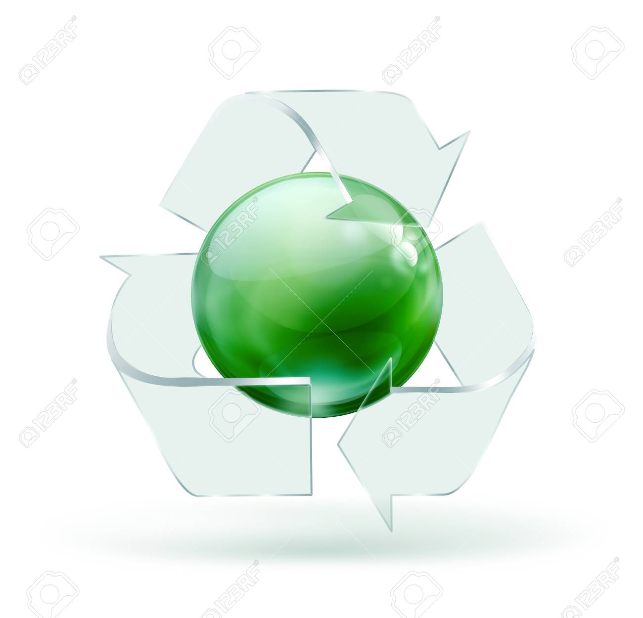 Glass Recycling Symbol On White Background Stock Photo Picture And