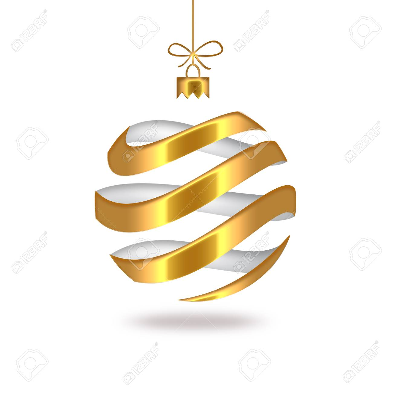 gold striped Christmas ball Stock Photo - 22497480
