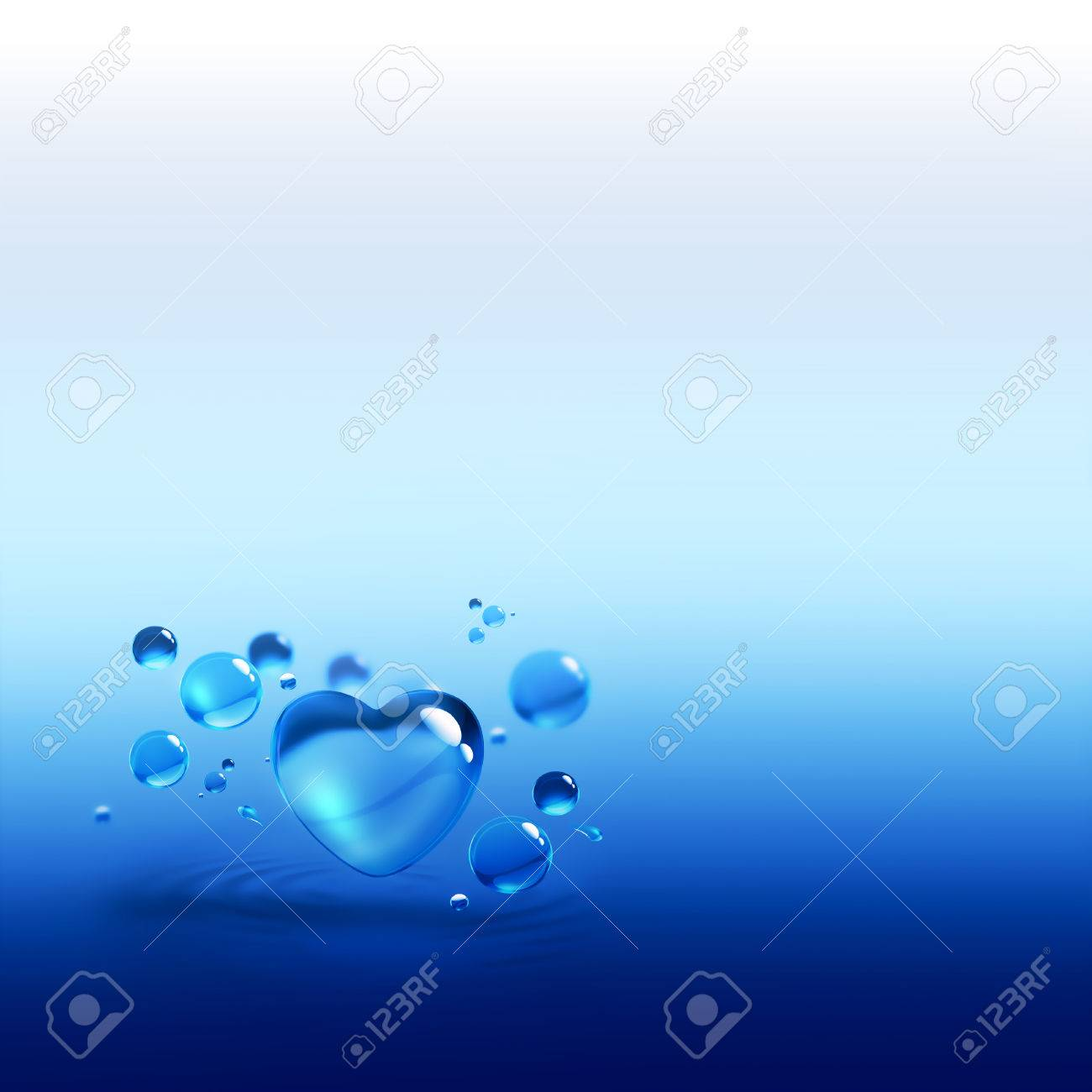 blue water drops and water-heart Stock Photo - 22497562