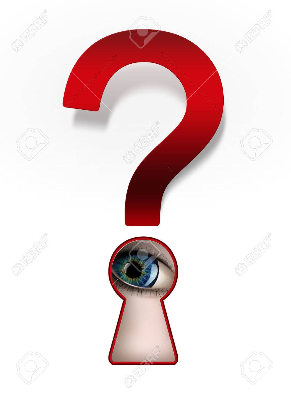 Spying eye under a question mark Stock Photo - 22497664