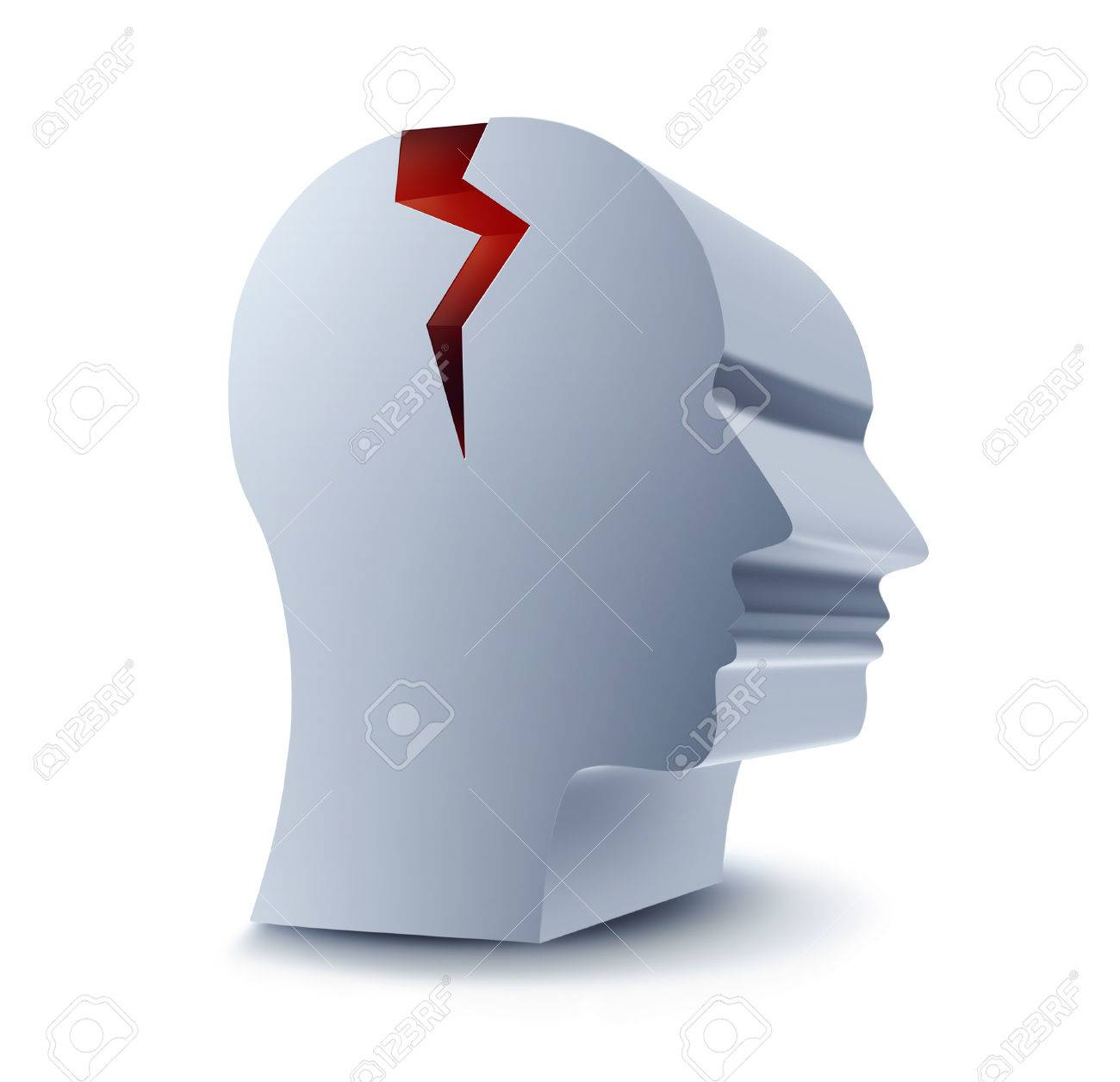 head with red crack on a white background Stock Photo - 22497668