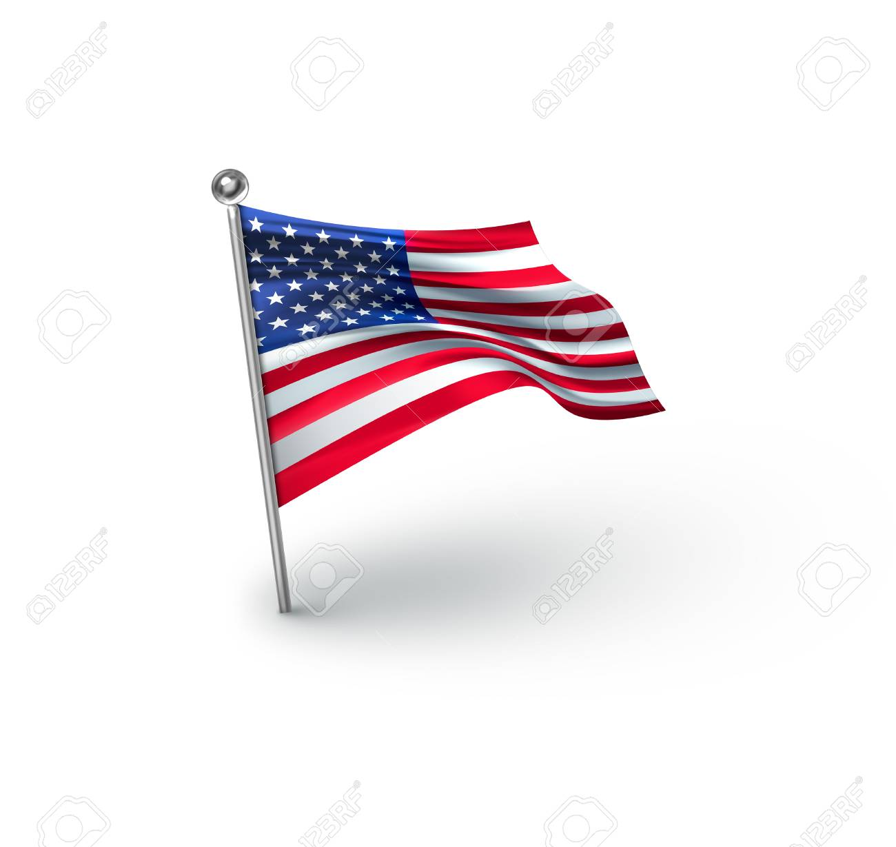 american flag against white background for independence day stock