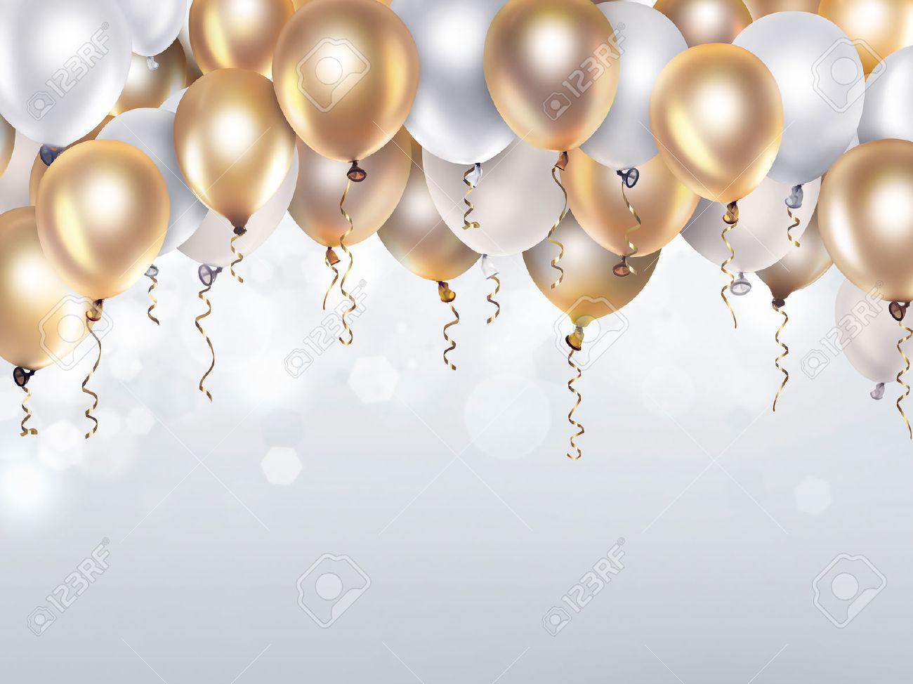 festive background with gold and white balloons stock photo picture
