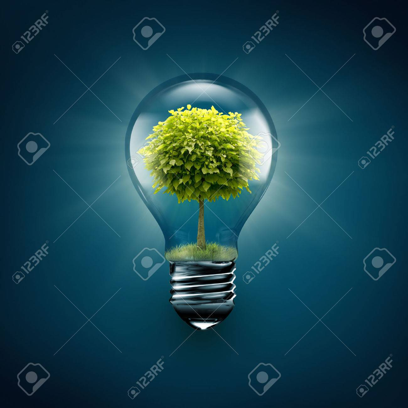 light bulb with tree inside on a blue background - 52591928