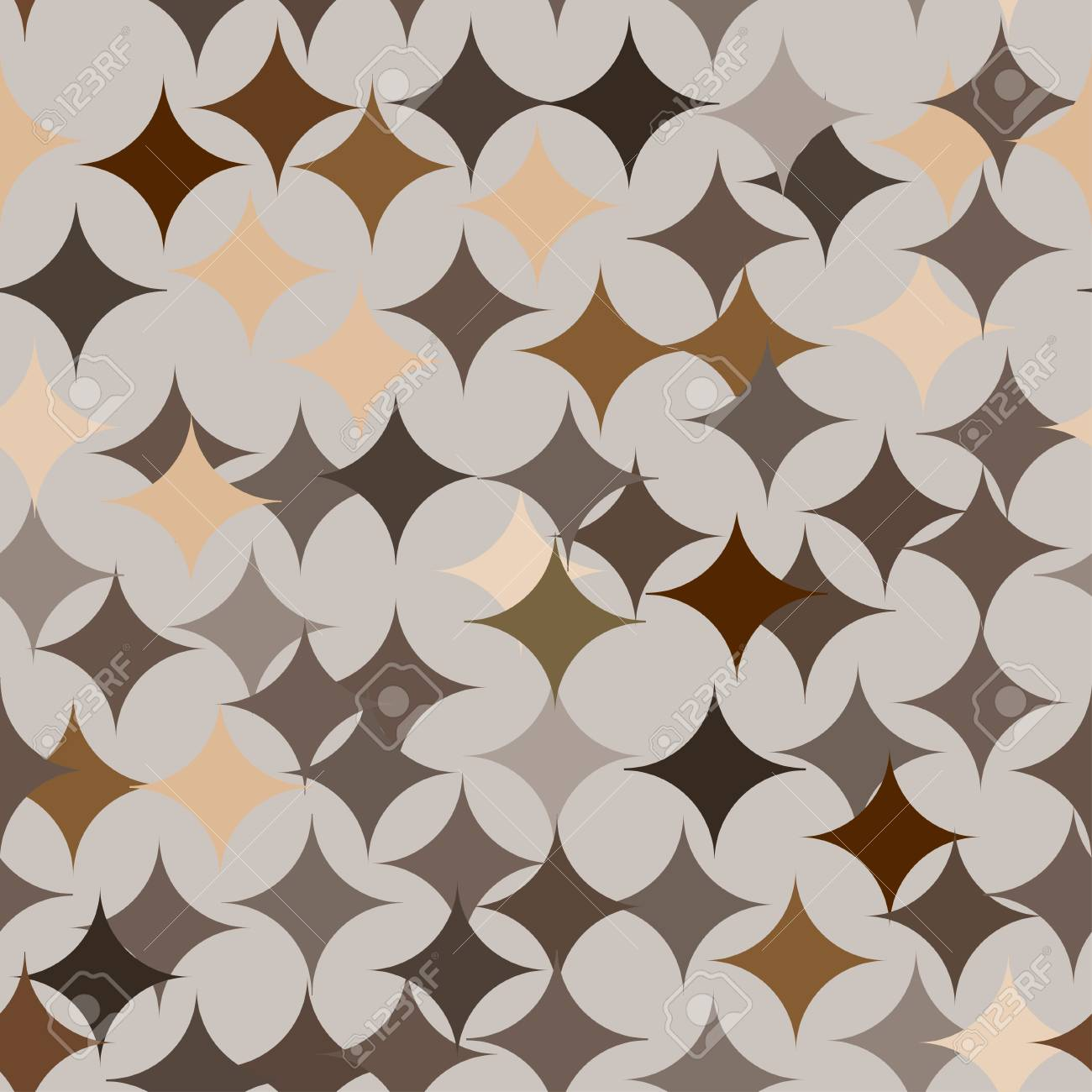 Abstract vector seamless retro tile pattern with geometric rouns brown texture for wrapping, craft, textile - 112229678