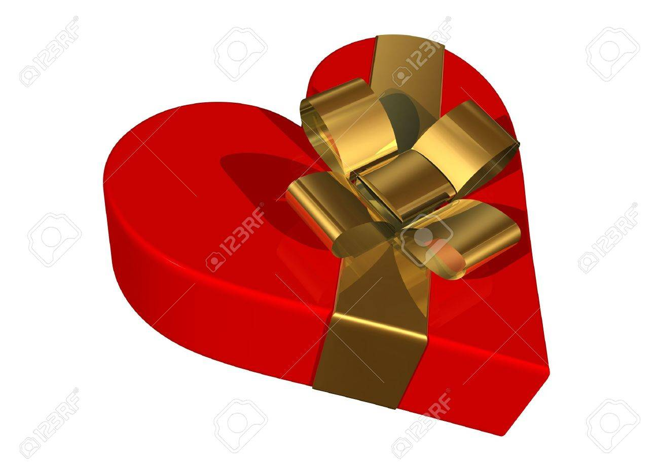 Valentine gift box with a skewed golden ribbon Stock Photo - 621968