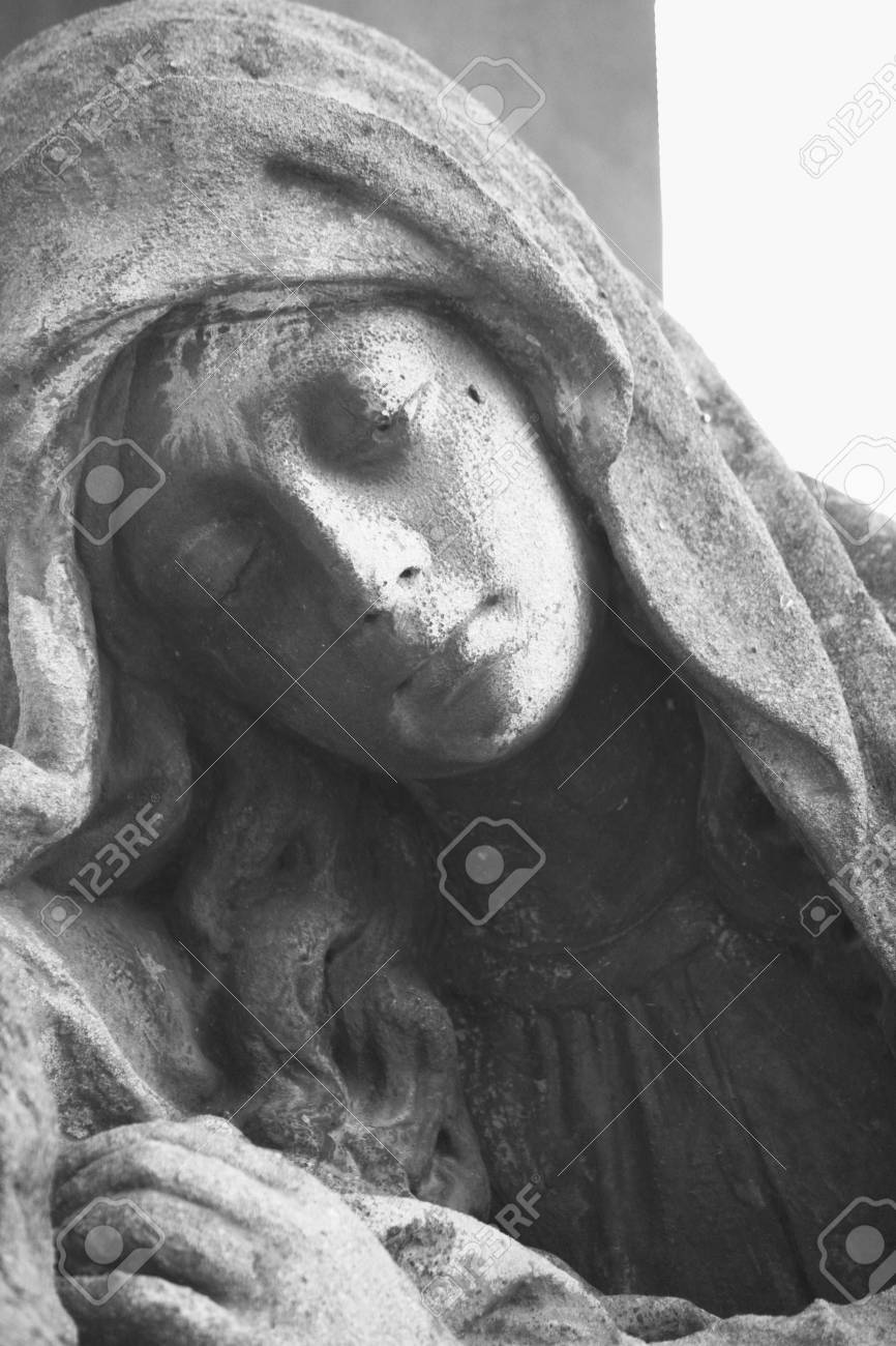 Statue Of Woman On Tomb As A Symbol Of Depression Pain And Sorrow