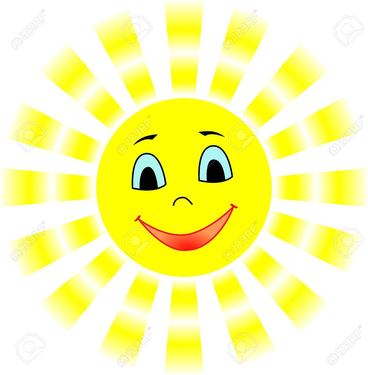 Smiling sun with gradient rays Stock Vector - 7670498