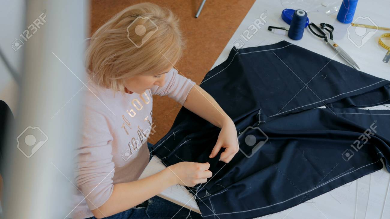 Professional Tailor Fashion Designer Working At Sewing Studio Stock Photo Picture And Royalty Free Image Image 78282003