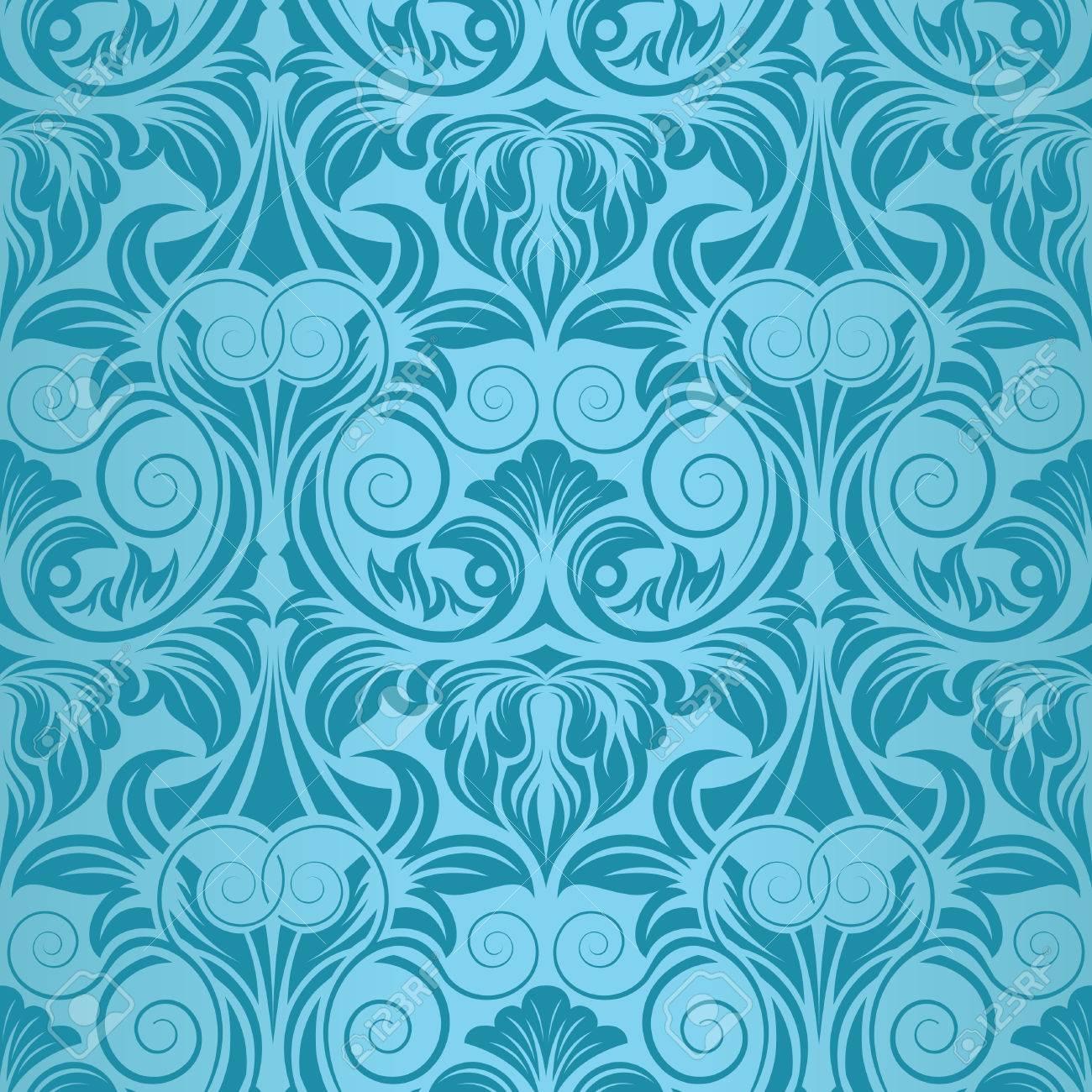 ターコイズ ブルーのシームレスな壁紙のイラスト素材 ベクタ Image