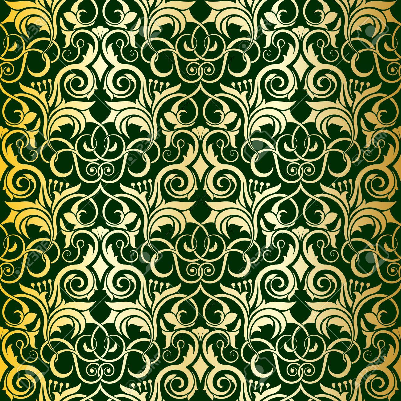 Green seamless wallpaper pattern Stock Vector - 6772127