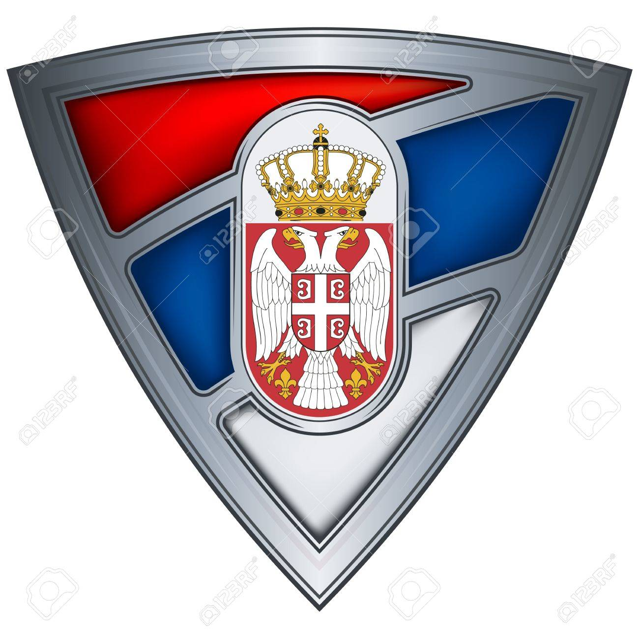 steel shield with flag serbia Stock Vector - 10905906