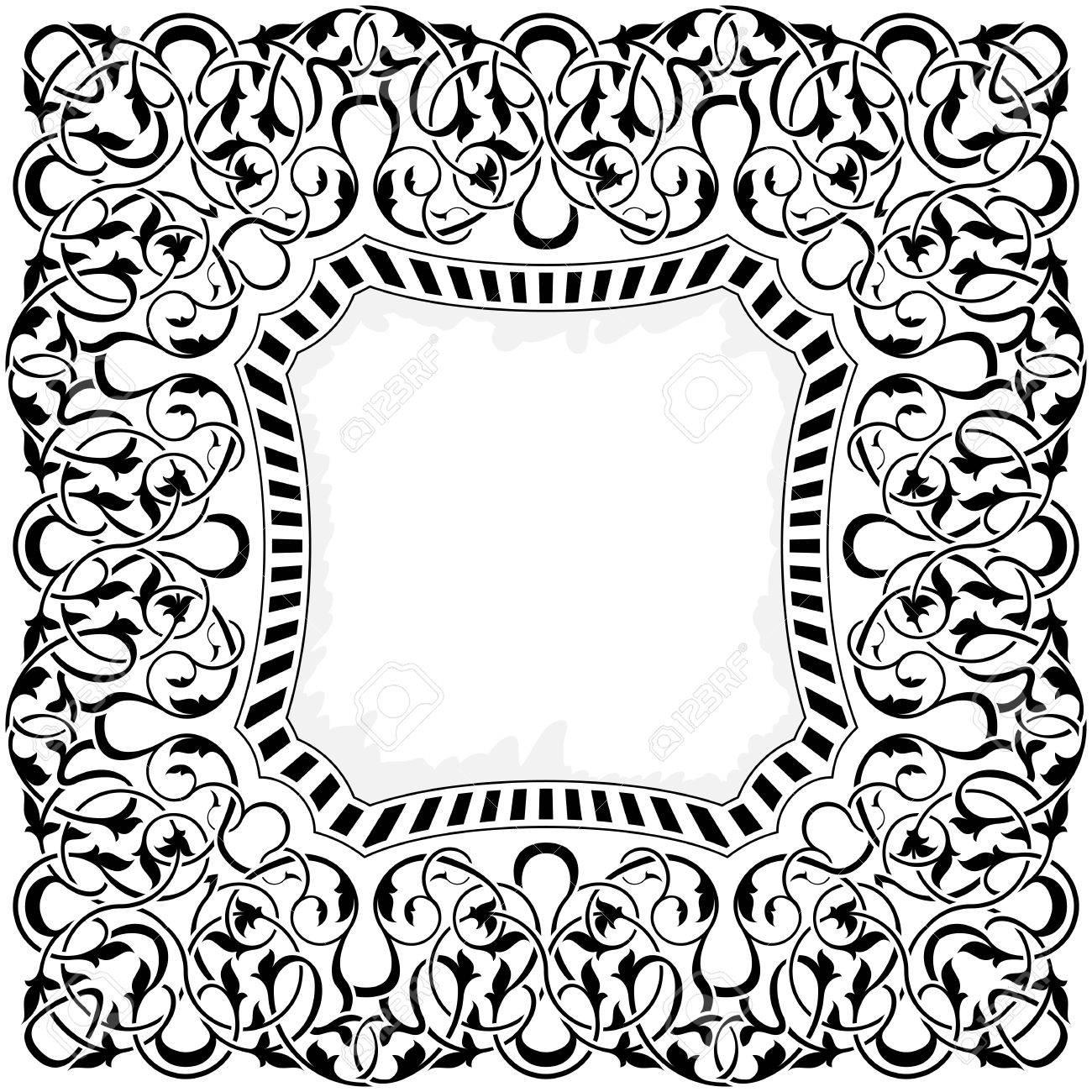 Black frame with ornamental border Stock Vector - 11097626
