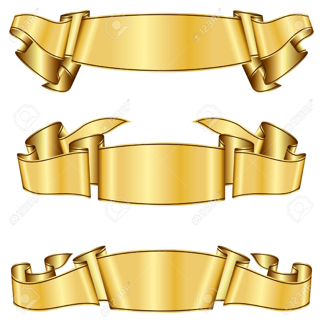 gold ribbon collection royalty free cliparts vectors and stock
