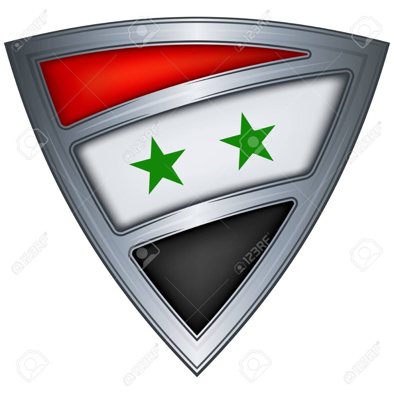 Steel shield with flag Syria Stock Vector - 11375707