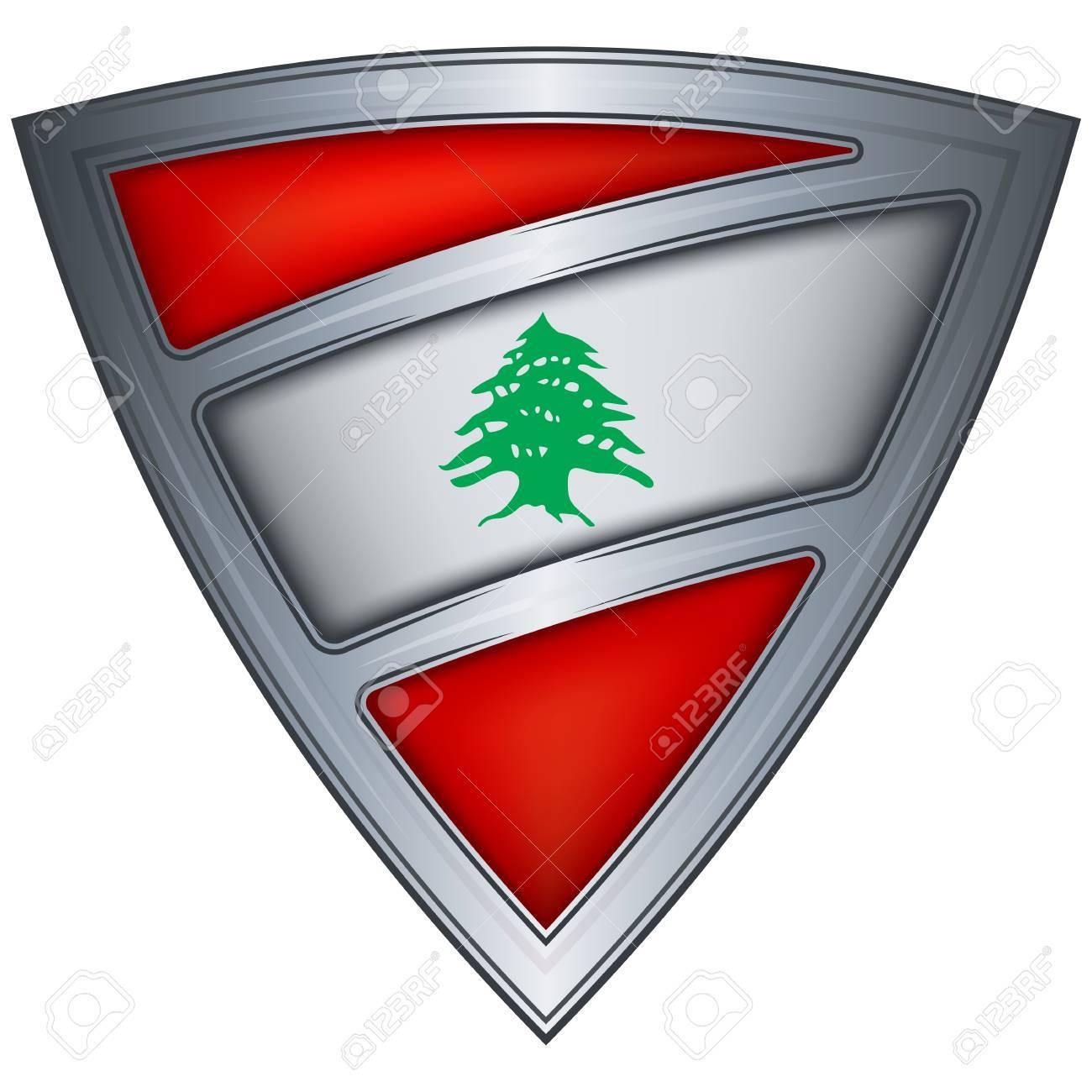 steel shield with flag lebanon Stock Vector - 11375712