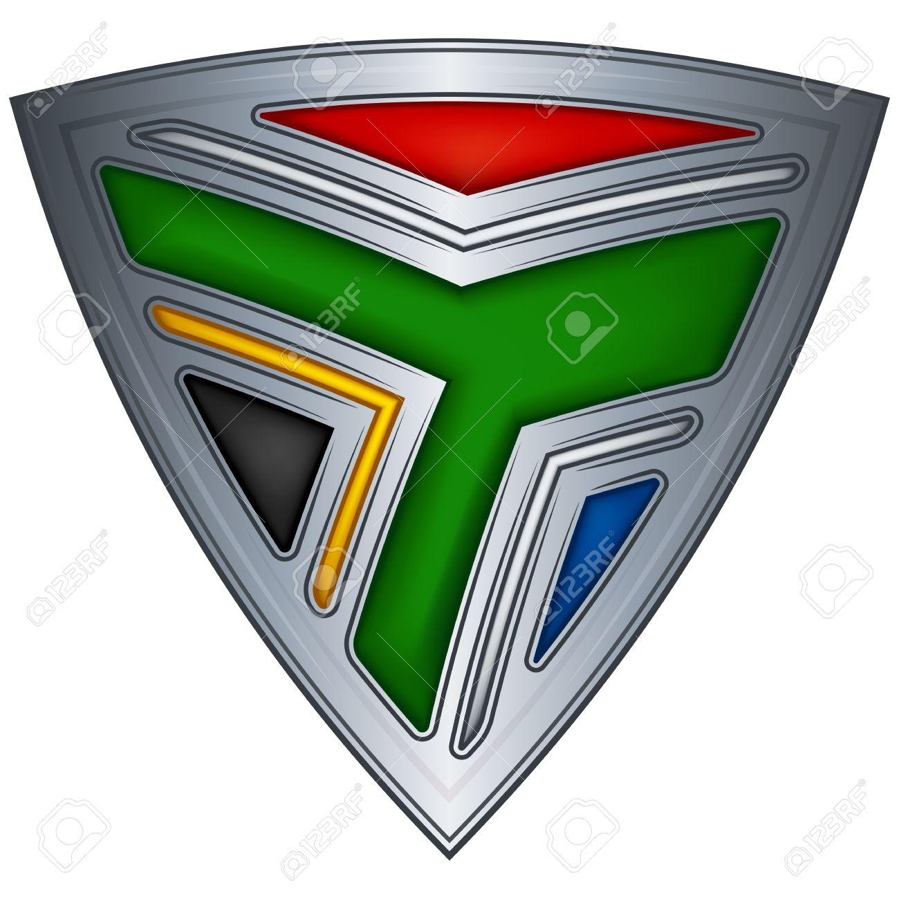 Steel shield with flag South Africa Stock Vector - 11375728