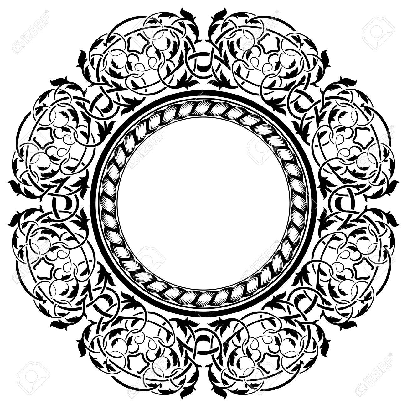 Black frame with ornamental border Stock Vector - 12034399