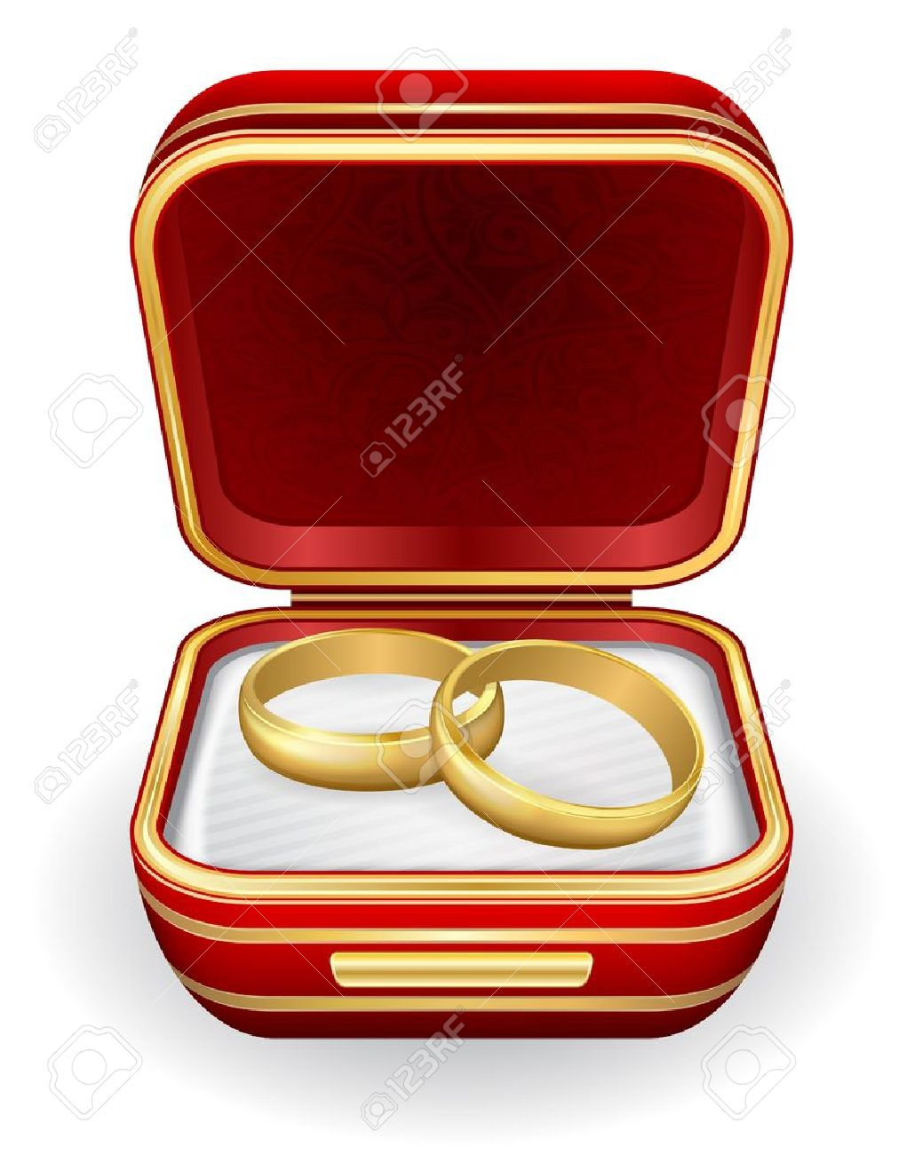 Gold Wedding Rings In Red Box Stock Vector  12365015