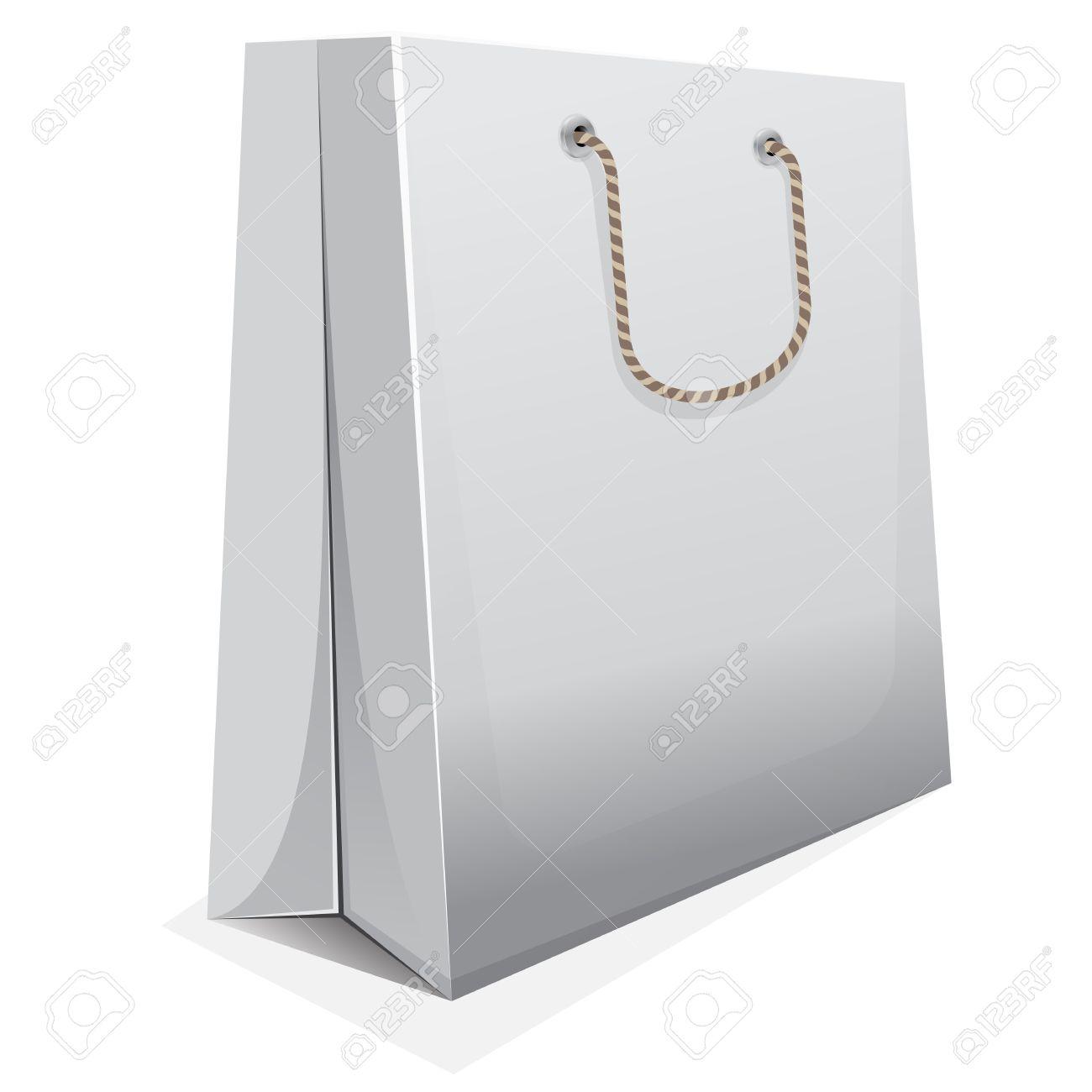 White Shopping Bag Black Handle White Blank Shopping Bag With