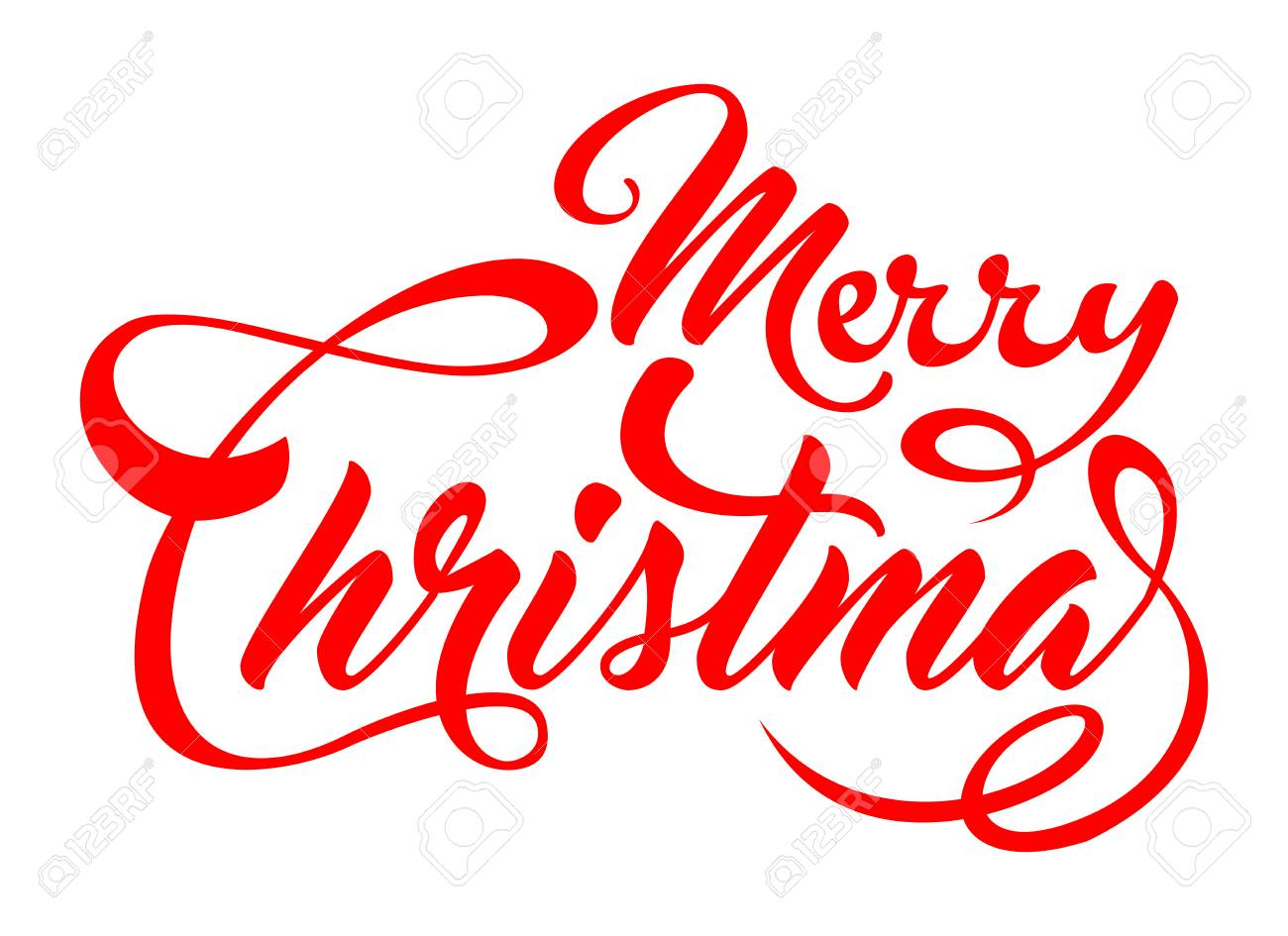 Christmas Lettering.Merry Christmas Lettering In Red Font Color