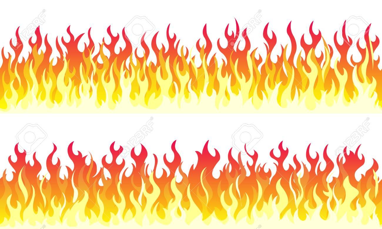 Cartoon fire flame frame borders. Seamless orange fire border - 110086258