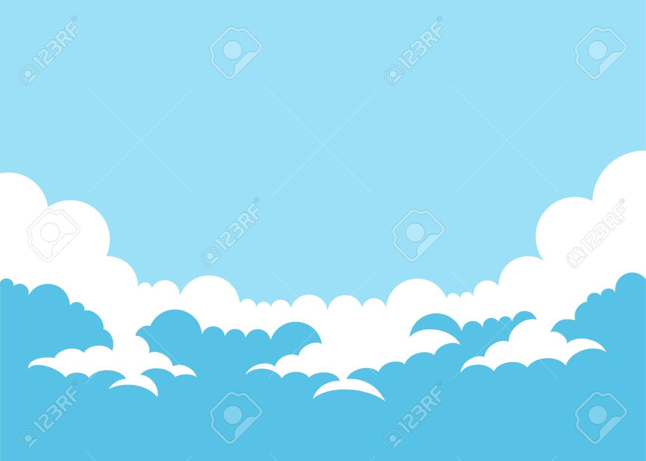 Vector illustration simple sky background with clouds - 123234176