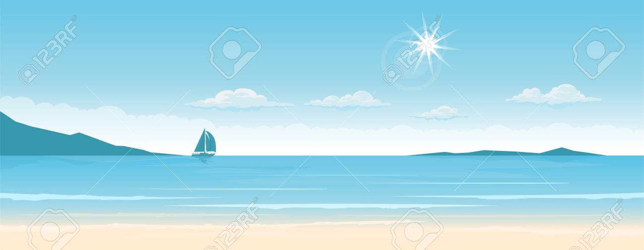 Tropical paradise beach with ship on the horizons. Travel and tourism. wide panorama background - 122647714
